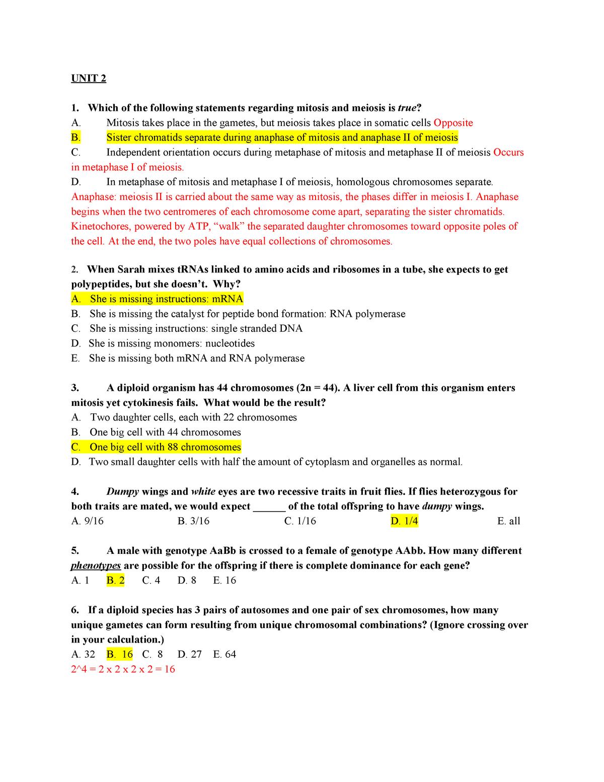 BIO 101 Unit 2 Practice Questions - StuDocu