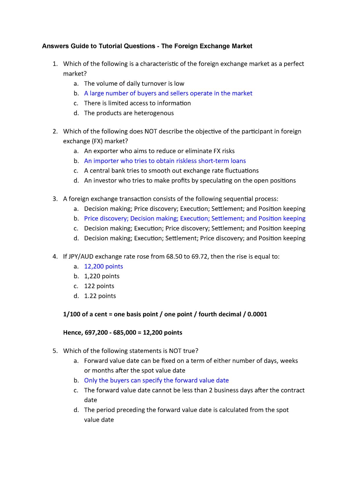 Topic 2 Answer - bafi1018: international finance - StuDocu