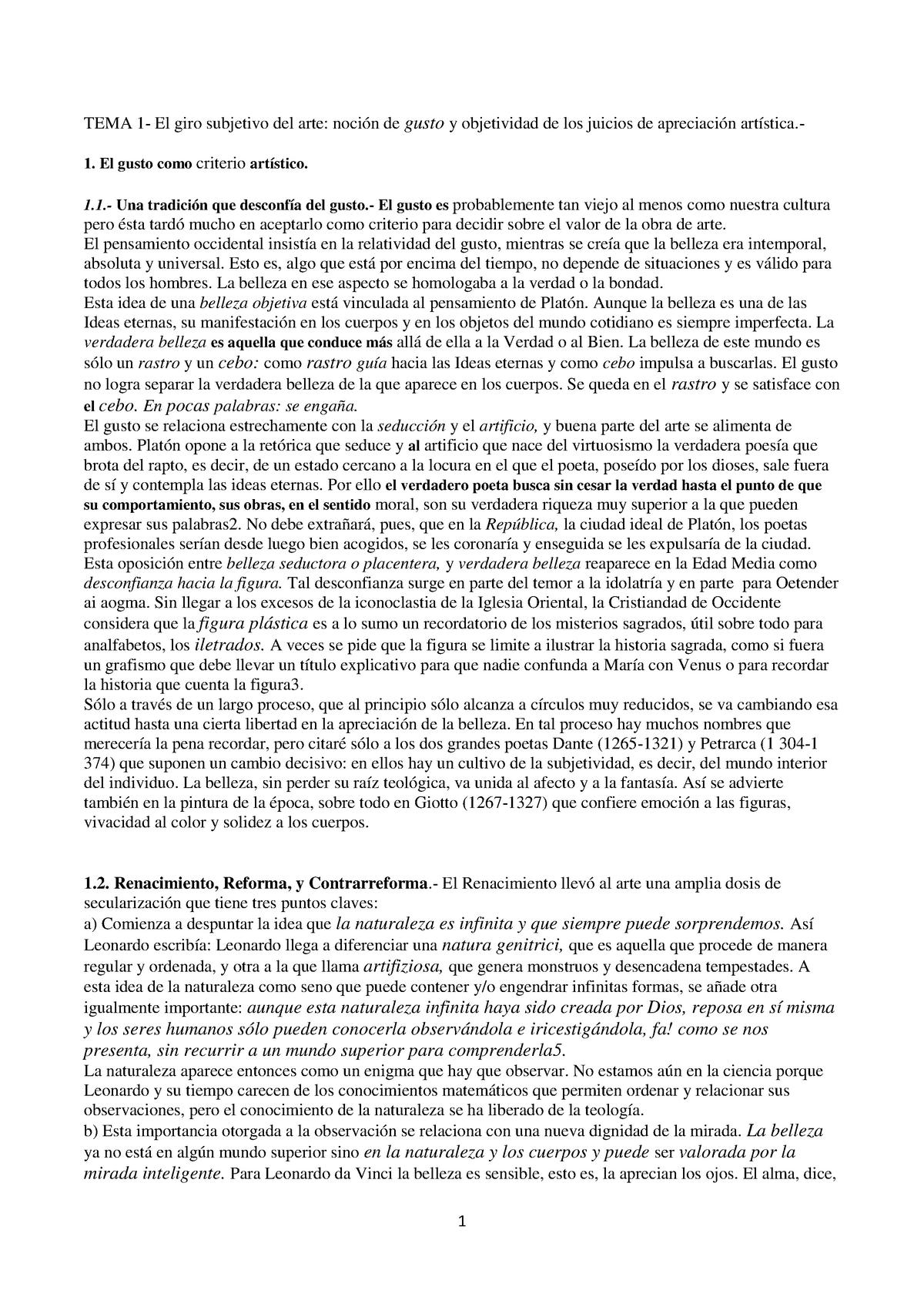 Apuntes Estética Juan Bosco Y Mj Godoy - 1670018: Historia de las Ideas  Estéticas - StuDocu