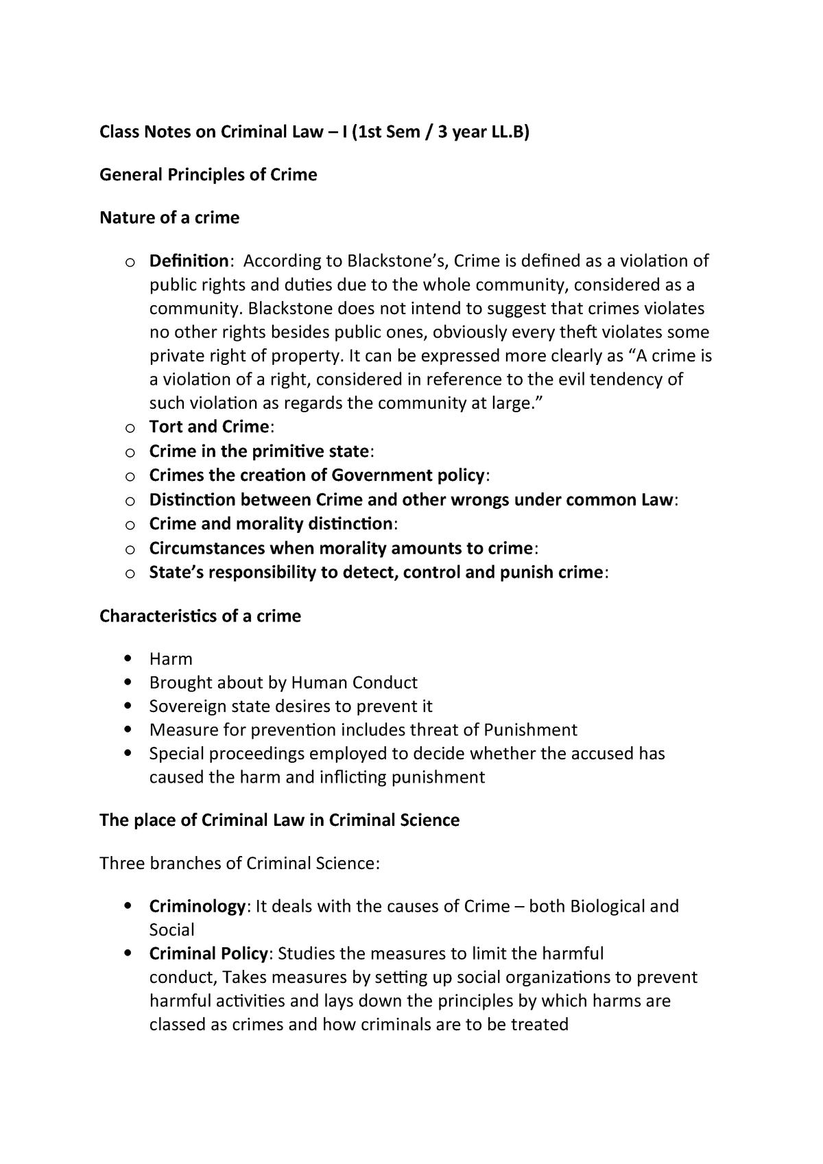 LLB Notes- Criminal Law -I - General Principles of Criminal Law