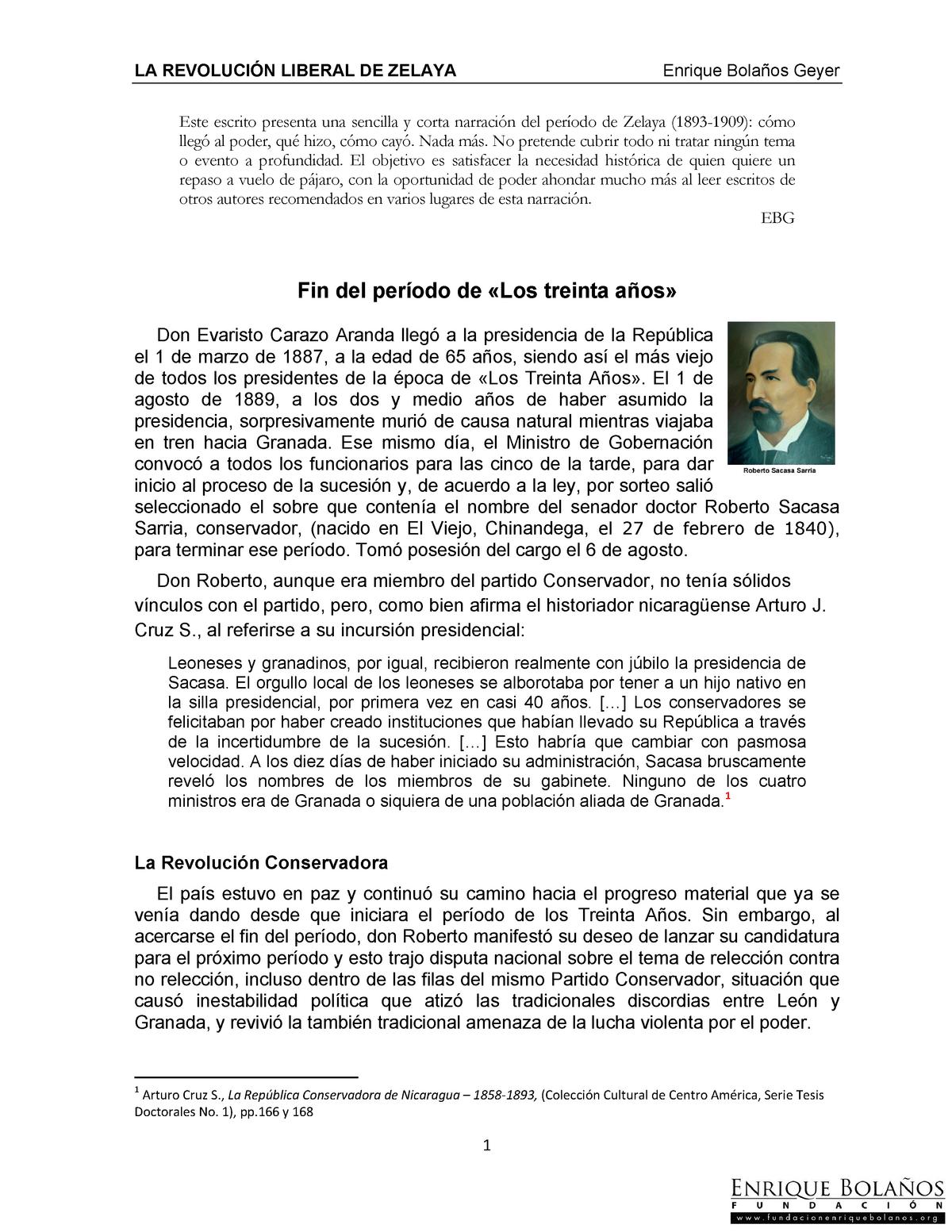 La Revolución liberal de Zelaya- Nicaragua - TRABAJO SOCIAL