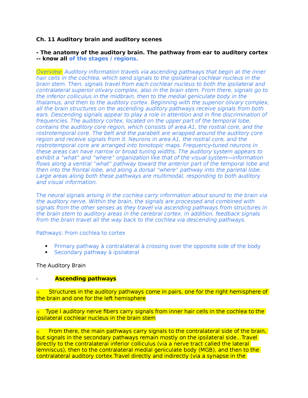 Chap 11-Auditory brain - PSYC310: Sensation & Perception - StuDocu