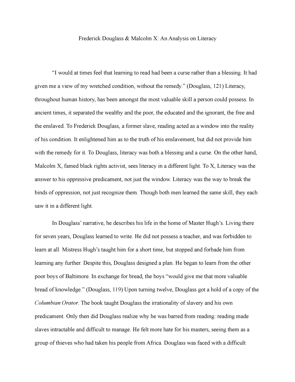 essay on frederick douglass learning to read and write
