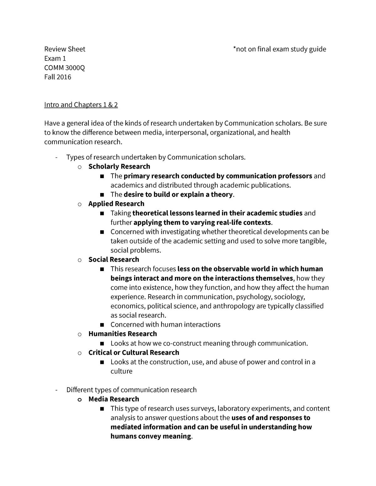 Exam #1 & 2 Review sheet - Comm 3000Q EXAM 1&2 Guide - StuDocu