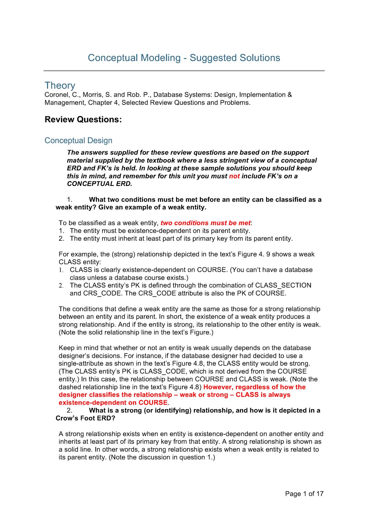 Week 3 Conceptual Modelling Sample Solutions Fit2094 Studocu