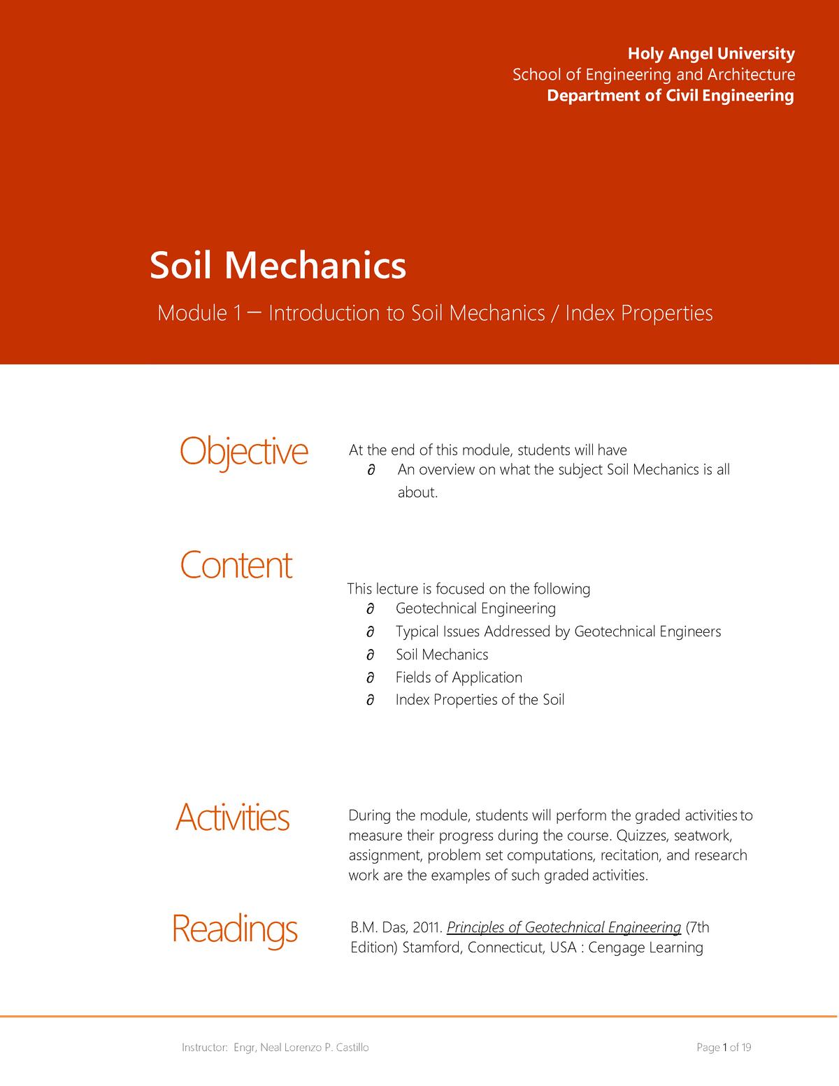 Module 1 - Index Properties of Soil - Civil Engineering - StuDocu