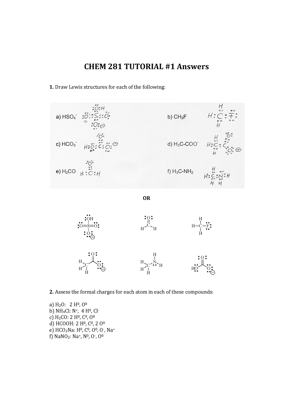 Tutorial 1 Ans Week 1 Lewis Structures Hybridization Dipole Moment Studocu