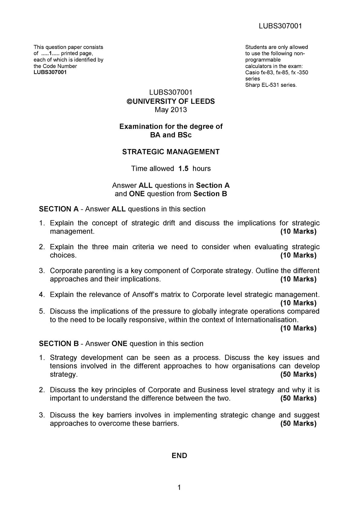 Exam 2013 - LUBS3070: Strategic Management - StuDocu