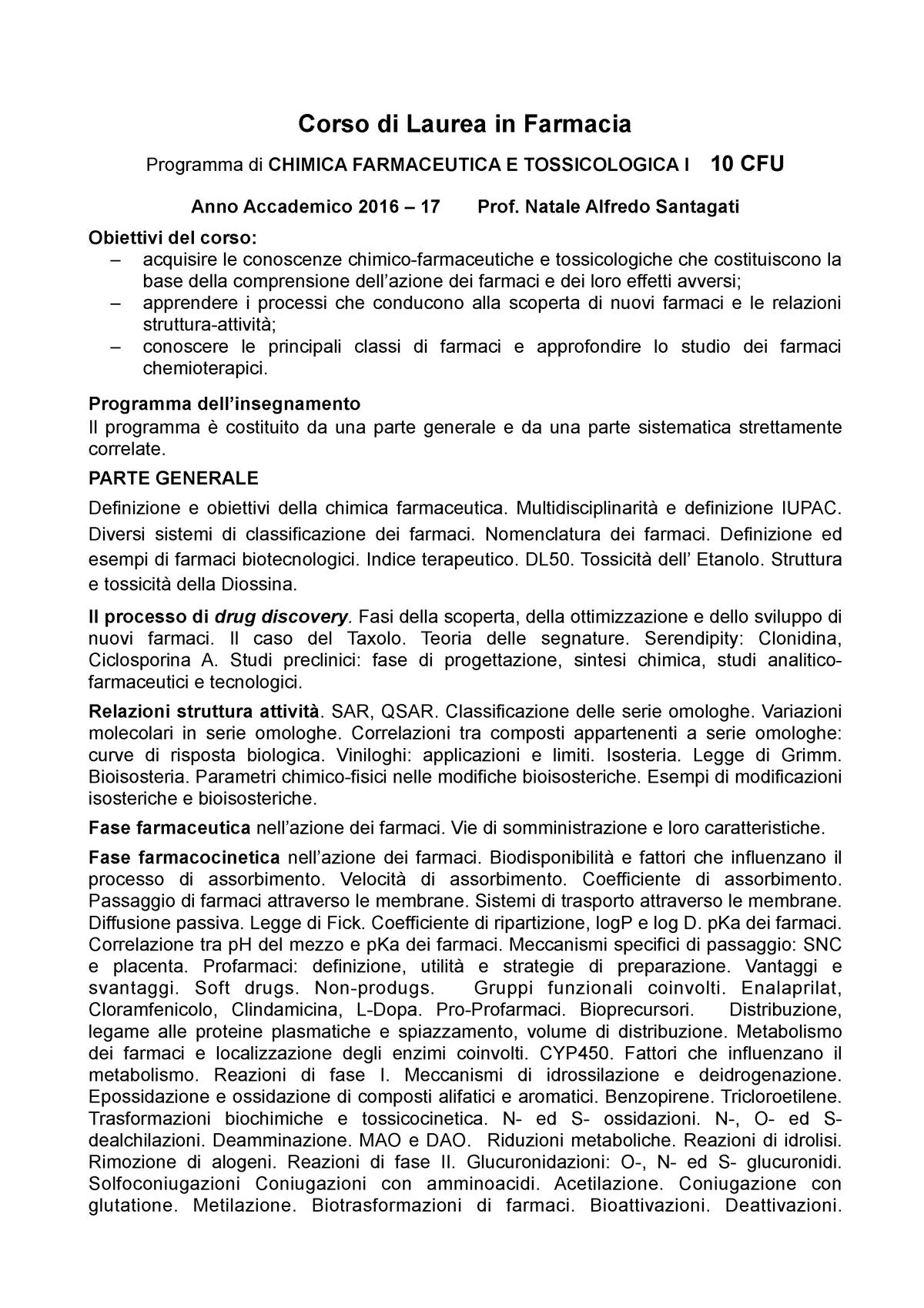 Indice Dei Farmaci.Programma 1008631 Chimica Farmaceutica Studocu