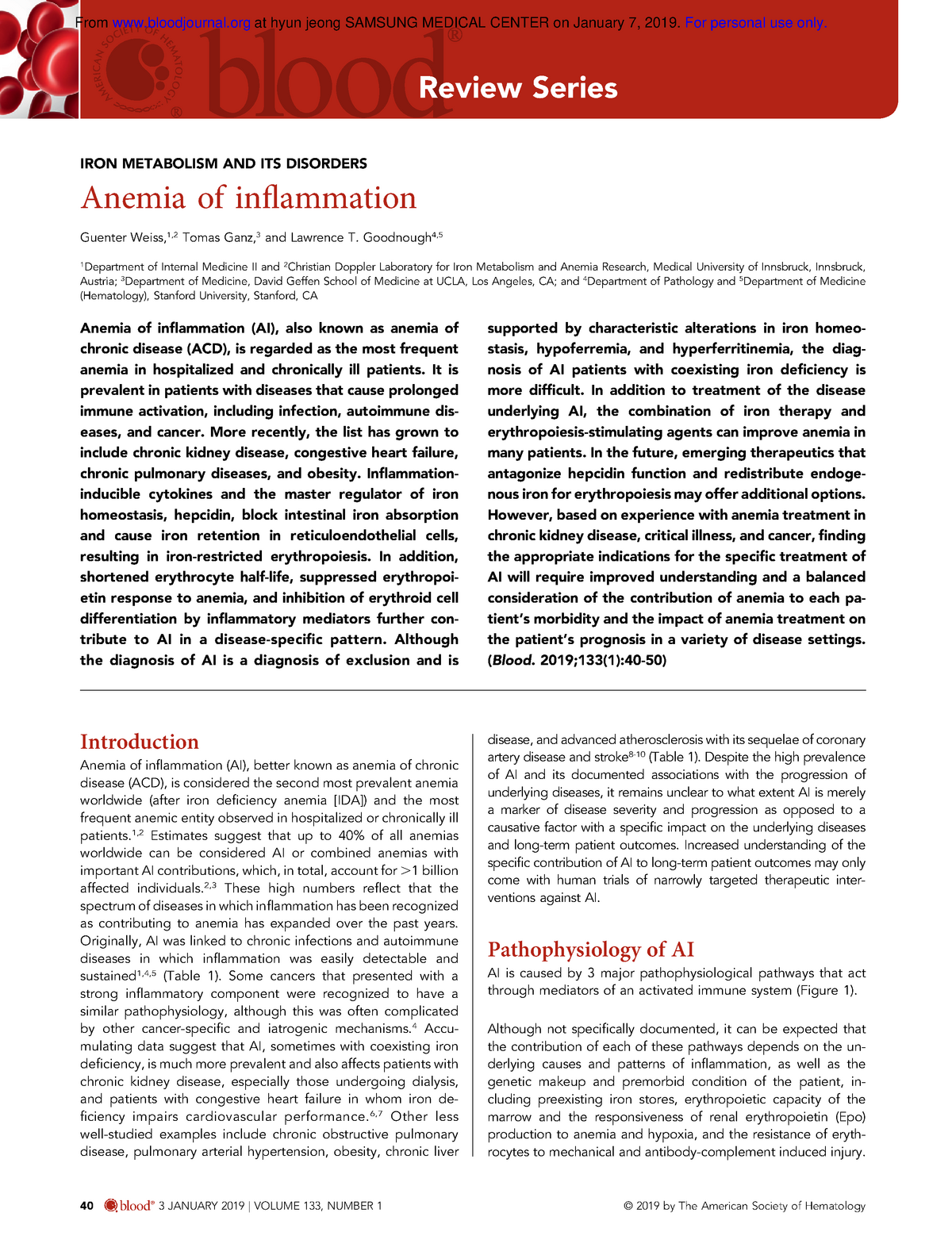 Blood 2019 Anemia of inflammation - Medicina - Uninorte