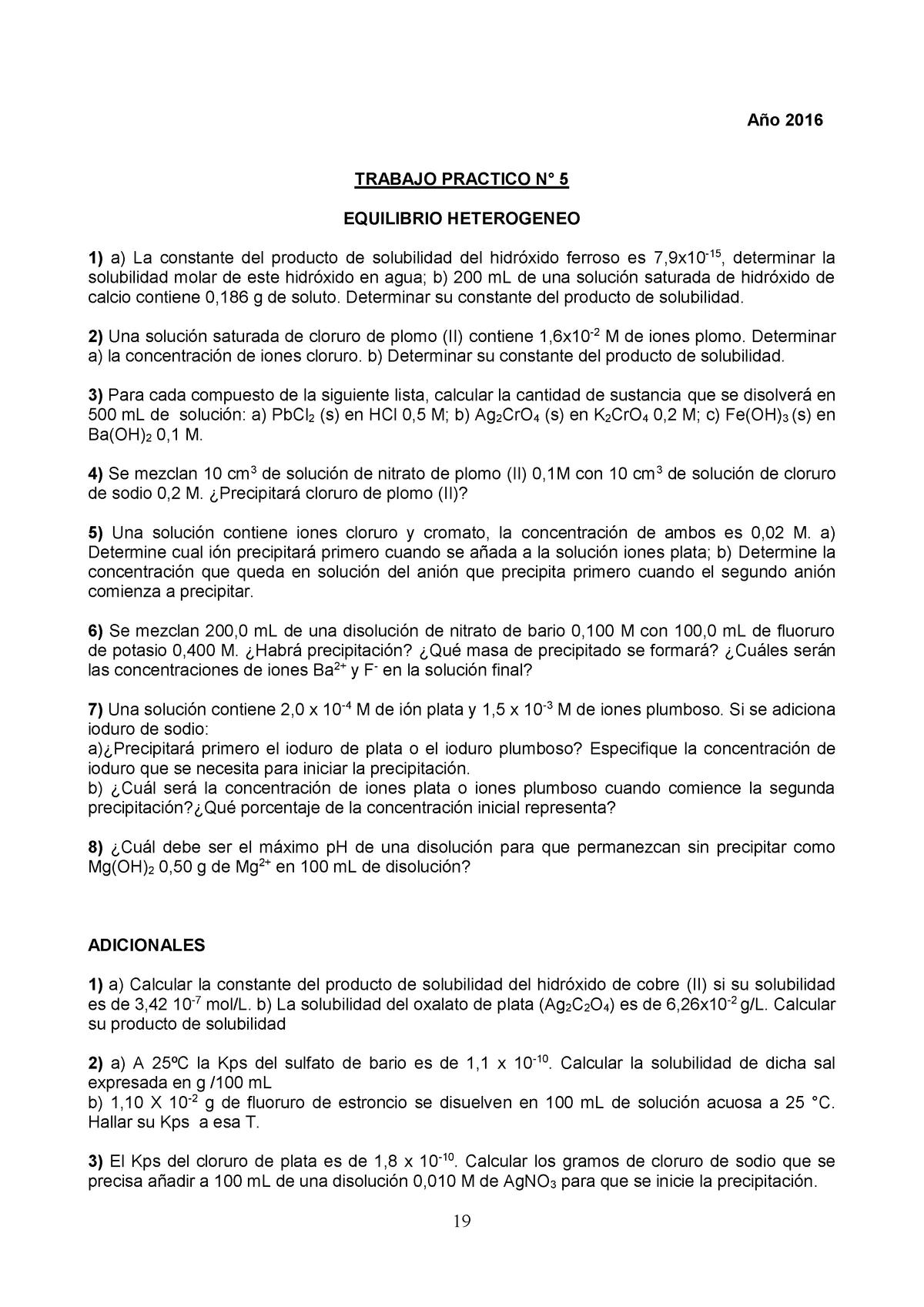 Tp - GUIA 5 2016 - Trabajo Práctico Equilibrio Heterogeneo