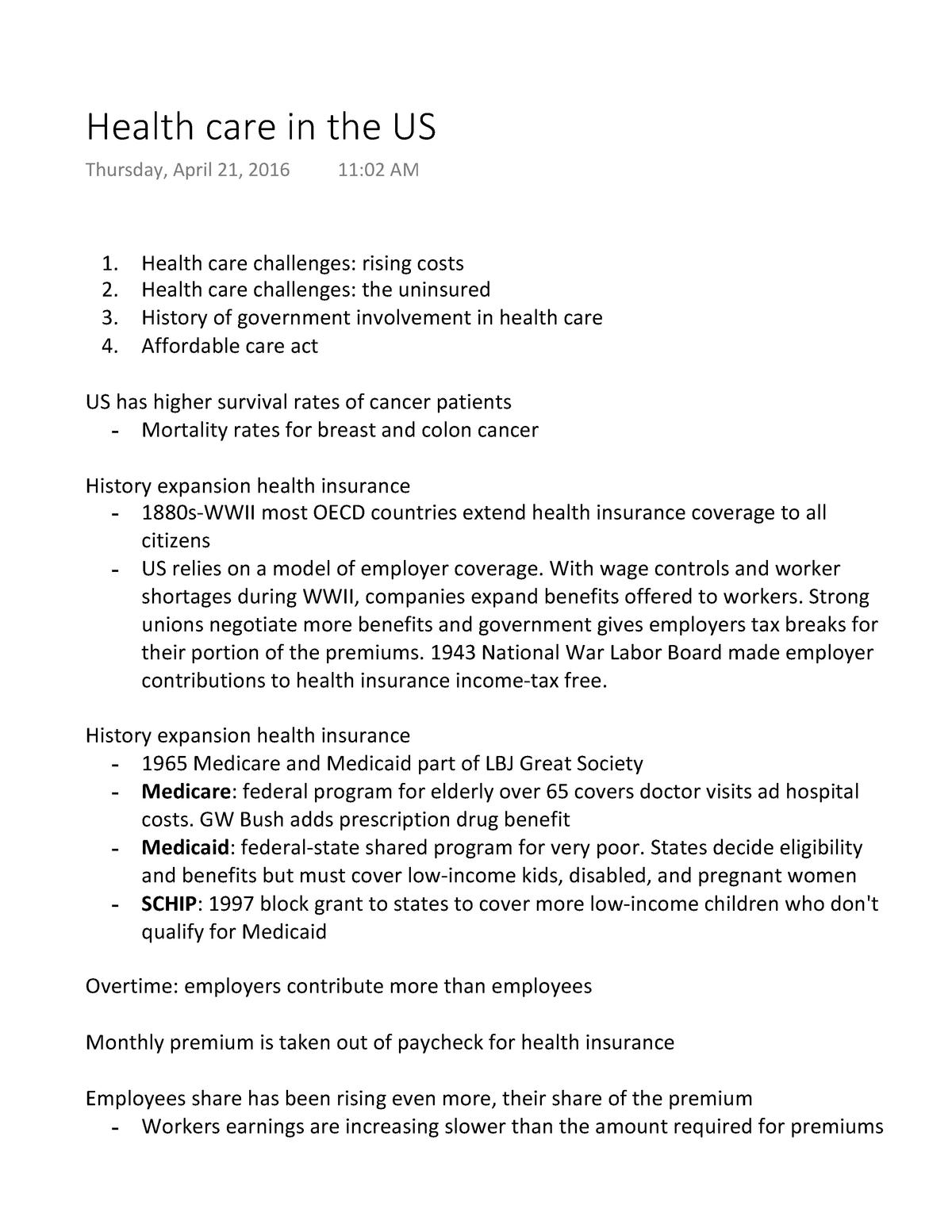 Health care in the US - Swers - GOVT 020 - StuDocu