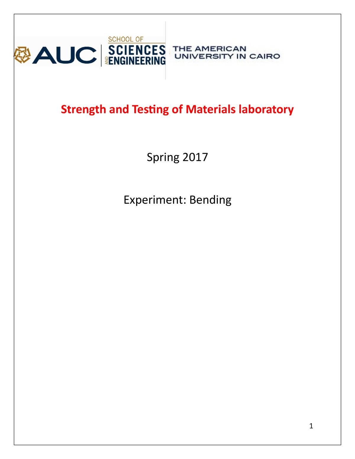 Bending test - Lab report - ENGR211204 - StuDocu
