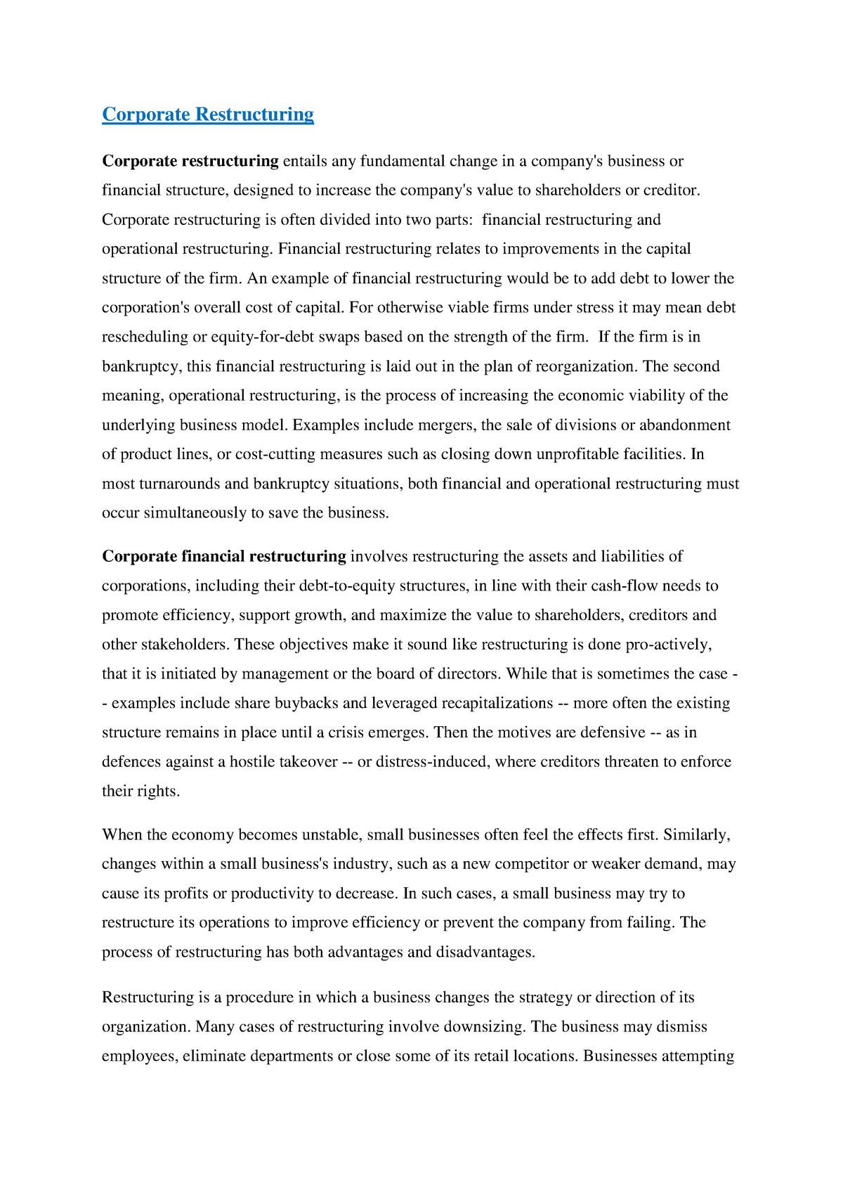 Summary - Corporate Restructuring - FNCE30002 - StuDocu