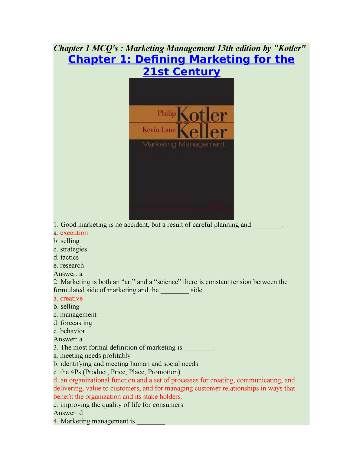 301852781 Chapter 1 Mcq S Marketing Management 13th Edition By Kotler Chapter Mcq Marketing Management 13th Edition By Quot Kotler Quot Chapter Defining Studocu