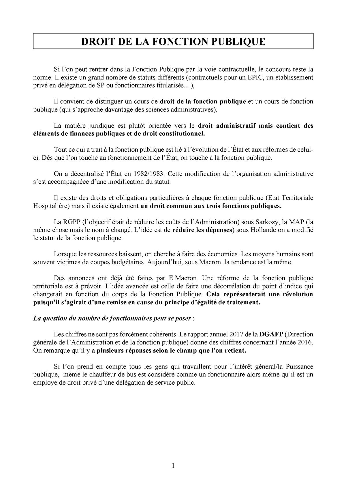 Droit De La Fonction Publique Droit Public Studocu