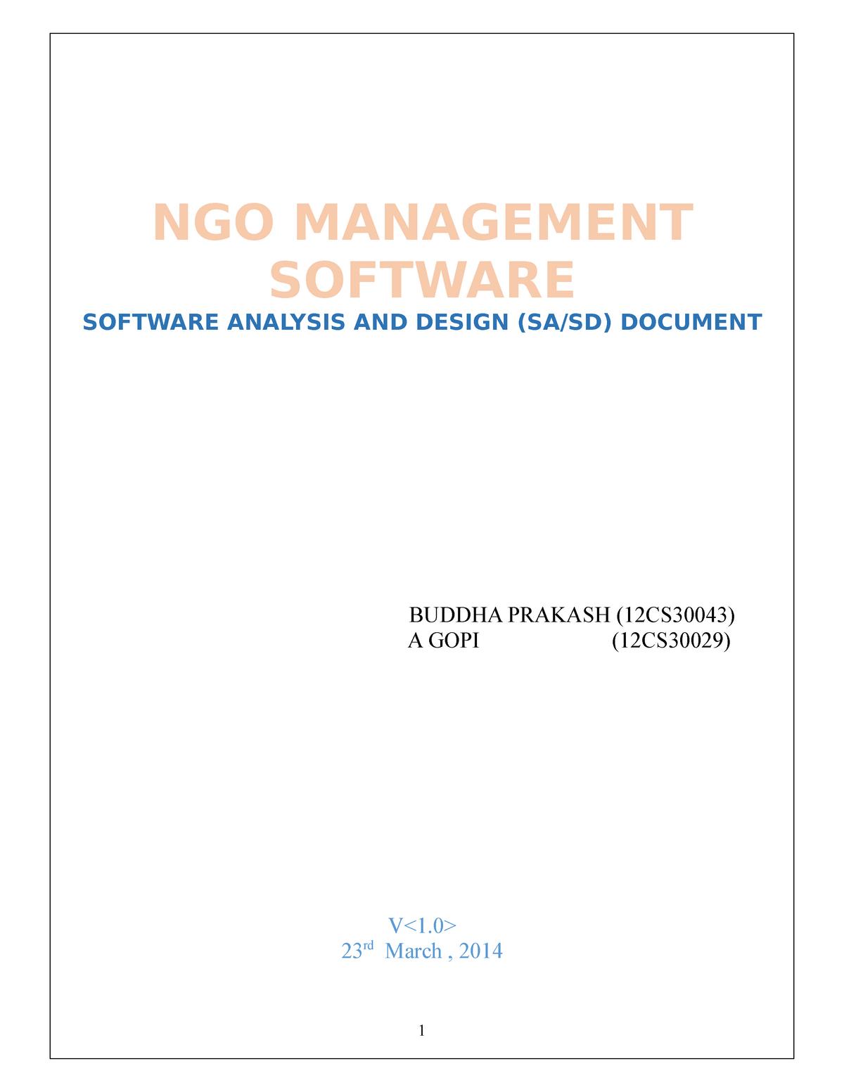 Ngo Management System Csc141 Cui Ngo Management Software Software Analysis And Design Sa Sd Document Buddha Prakash 12cs30043 Gopi 12cs30029 Lt Gt 23 March Studocu
