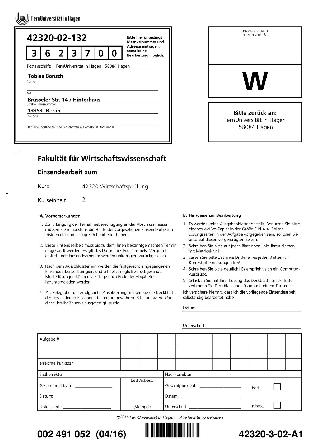 Seminaraufgaben   Einsendearbeit Nr 20   Wirtschaftsprüfung   320841 ...