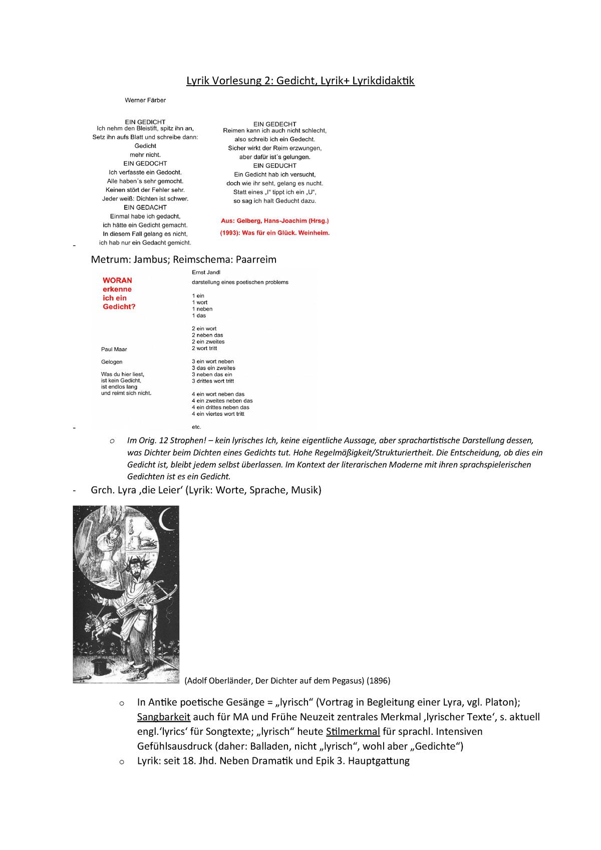 02 Zusammenfassung Lyrik Vorlesung 2 Literatur Und Medien