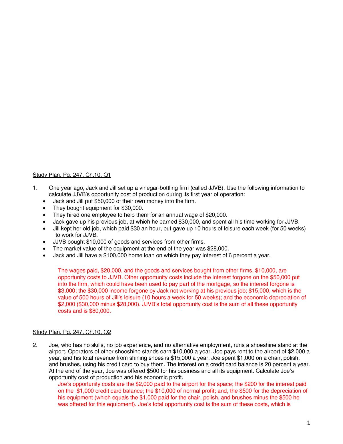 CH 10 study plan ANS - Economics 003 - StuDocu