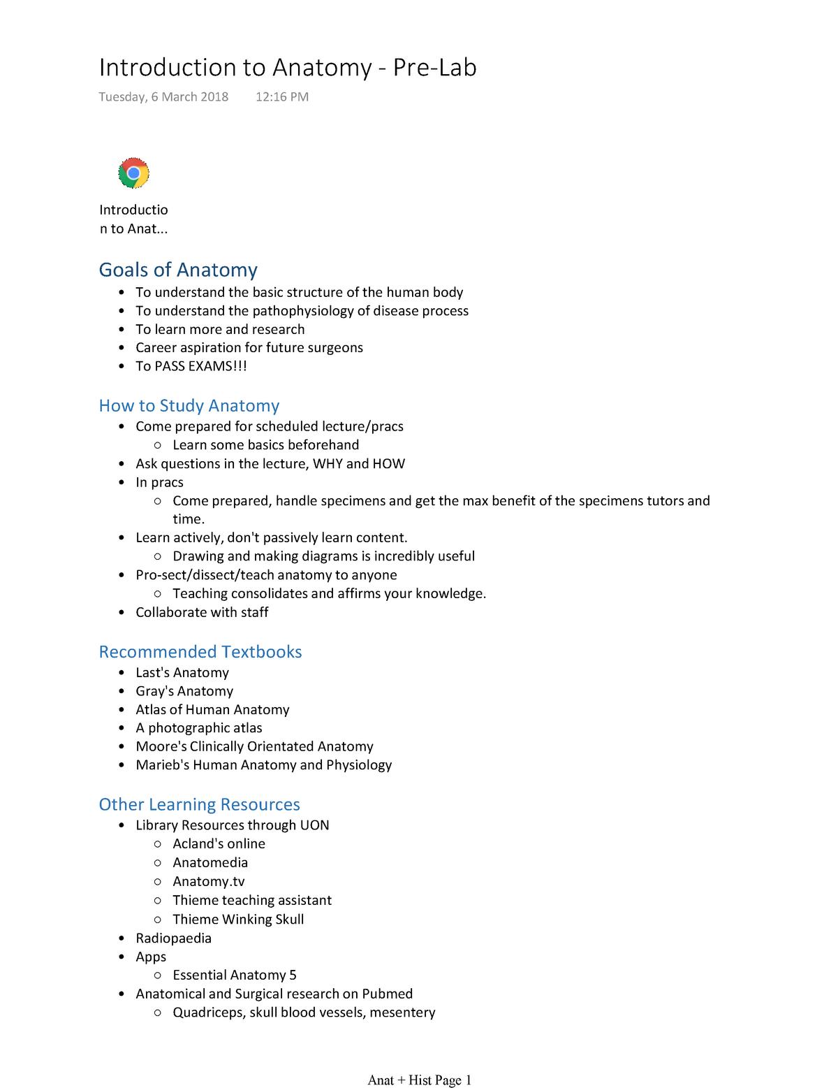 Introduction to Anatomy - Pre-Lab - MEDI1101A: Medicine