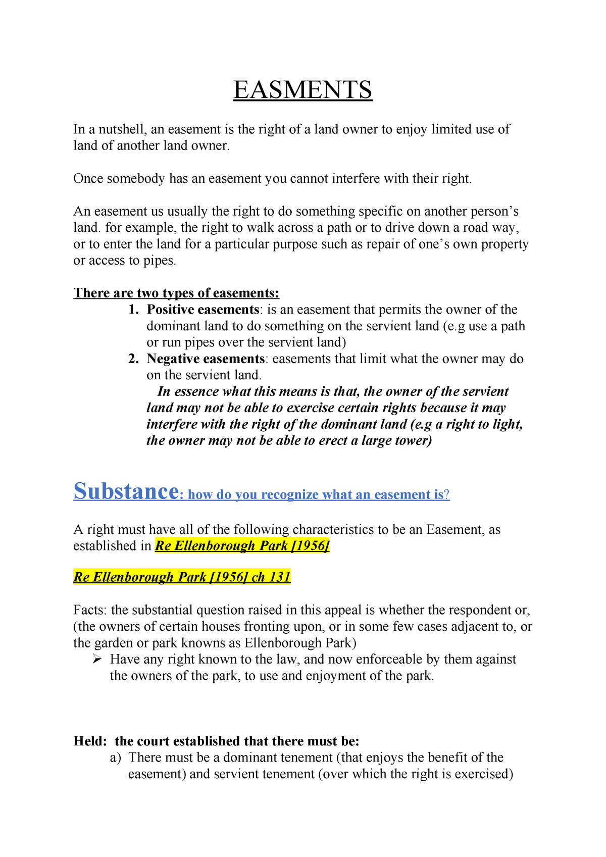 Easments Detailed Note On Easement Land Law 08 21215