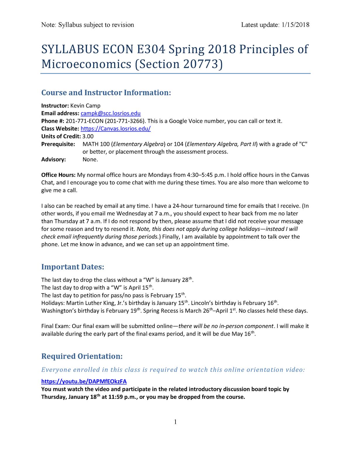 Syllabus ECON E304 Spring 2018 Principles of Microeconomics