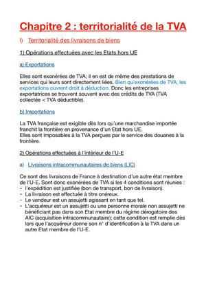 Chapitre 2 Territorialite De La Tva 2240016 Ue4 Droit Fiscal