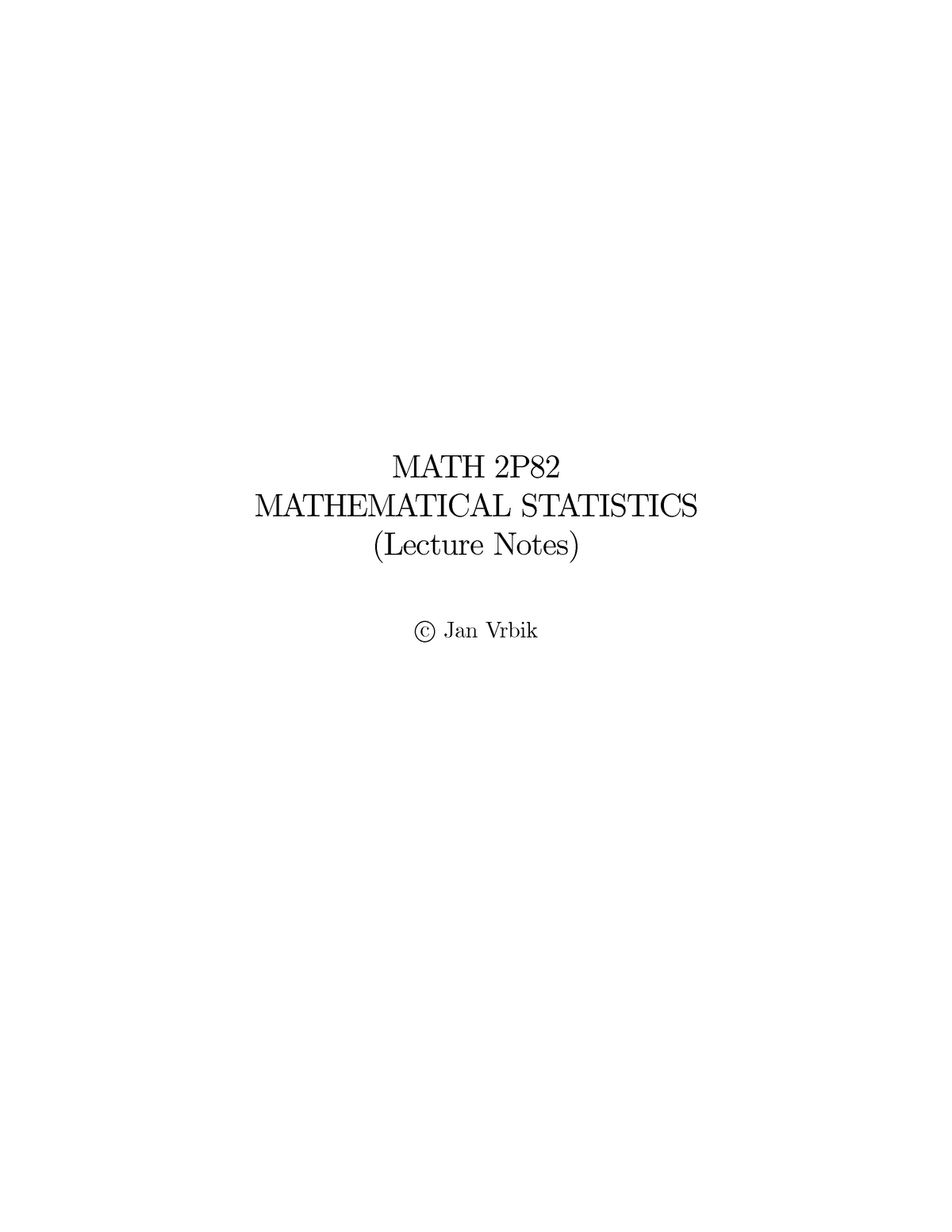 Mathematical Statistics Lecture notes, lecture All - StuDocu