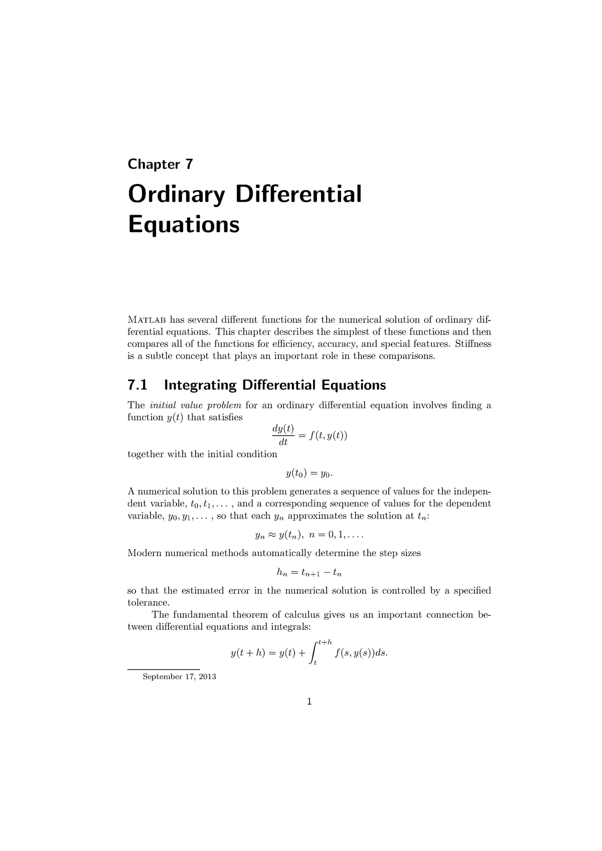 Ordinary Differential Equations - ME41060: Matlab in Engineering