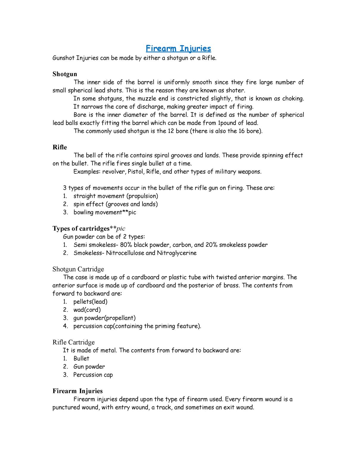 Firearm Injuries - CS0600: Forensic Science in Practice