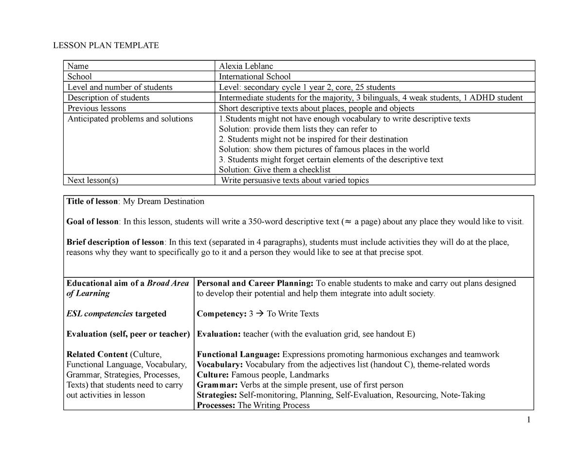 Leblanc C3 Lesson Plan - DDL2239: Teaching Written