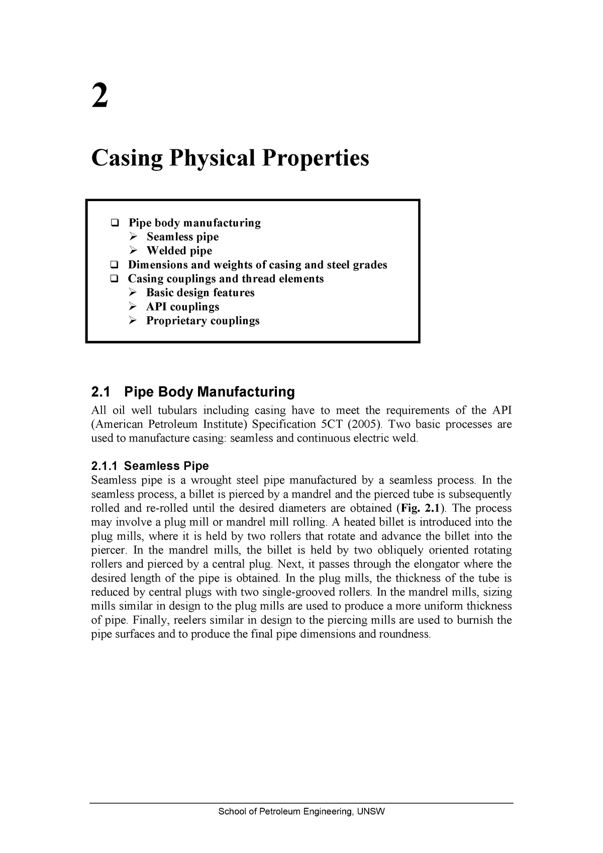 Ch2-Casing Physical Properties - Ptrl 4017 - UNSW - StuDocu