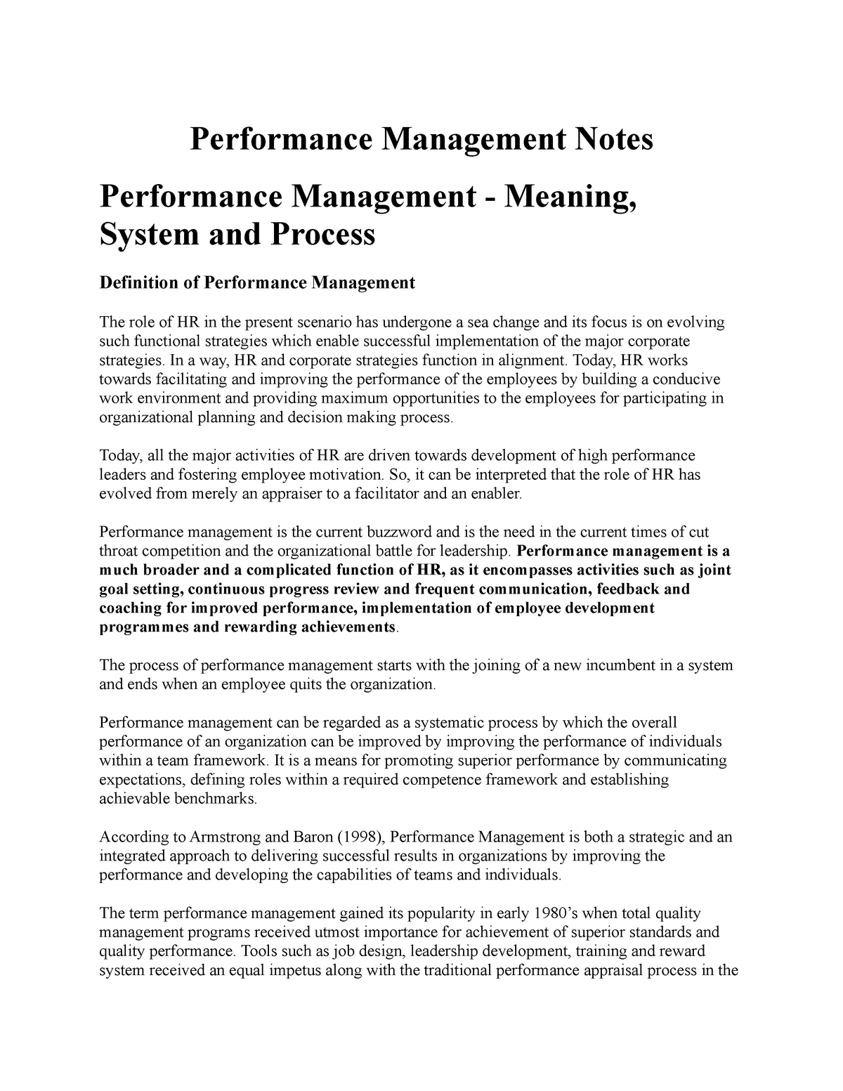 Performance Management Notes - 7202PES - Griffith - StuDocu