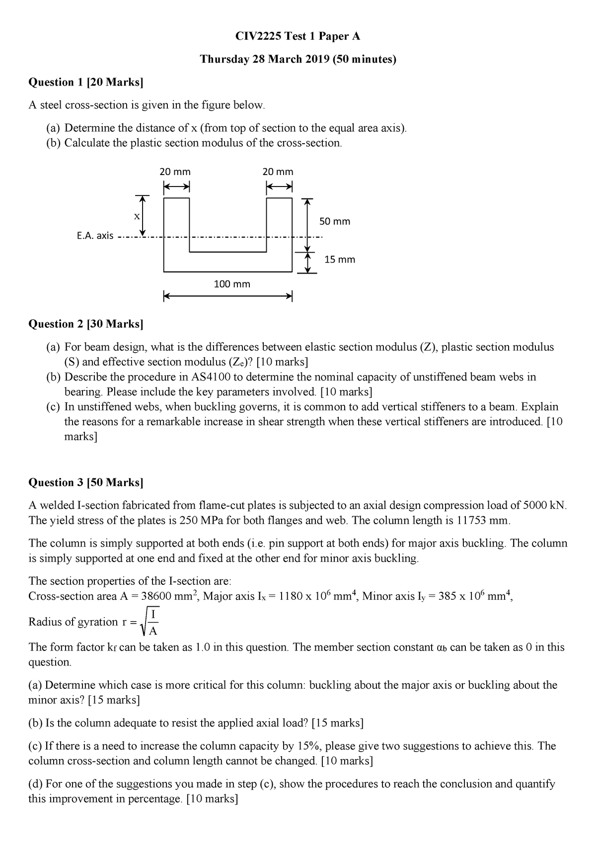 Exam 2019 - CIV2225: Design Of Steel And Timber Structures