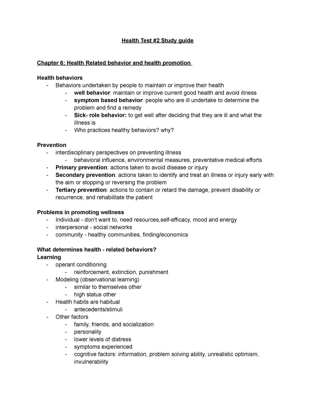 Health Test #2 - Test 2 review - PSY 407 - SDSU - StuDocu