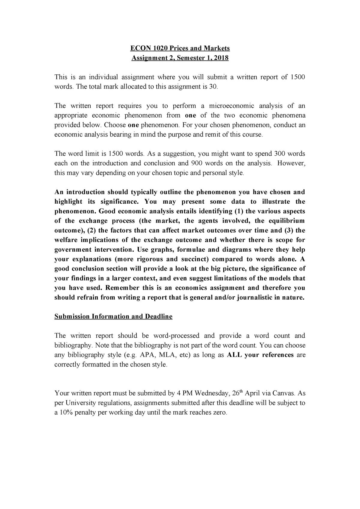 Assignment 2 S1 2018 - ECON1016: Macroeconomics - StuDocu