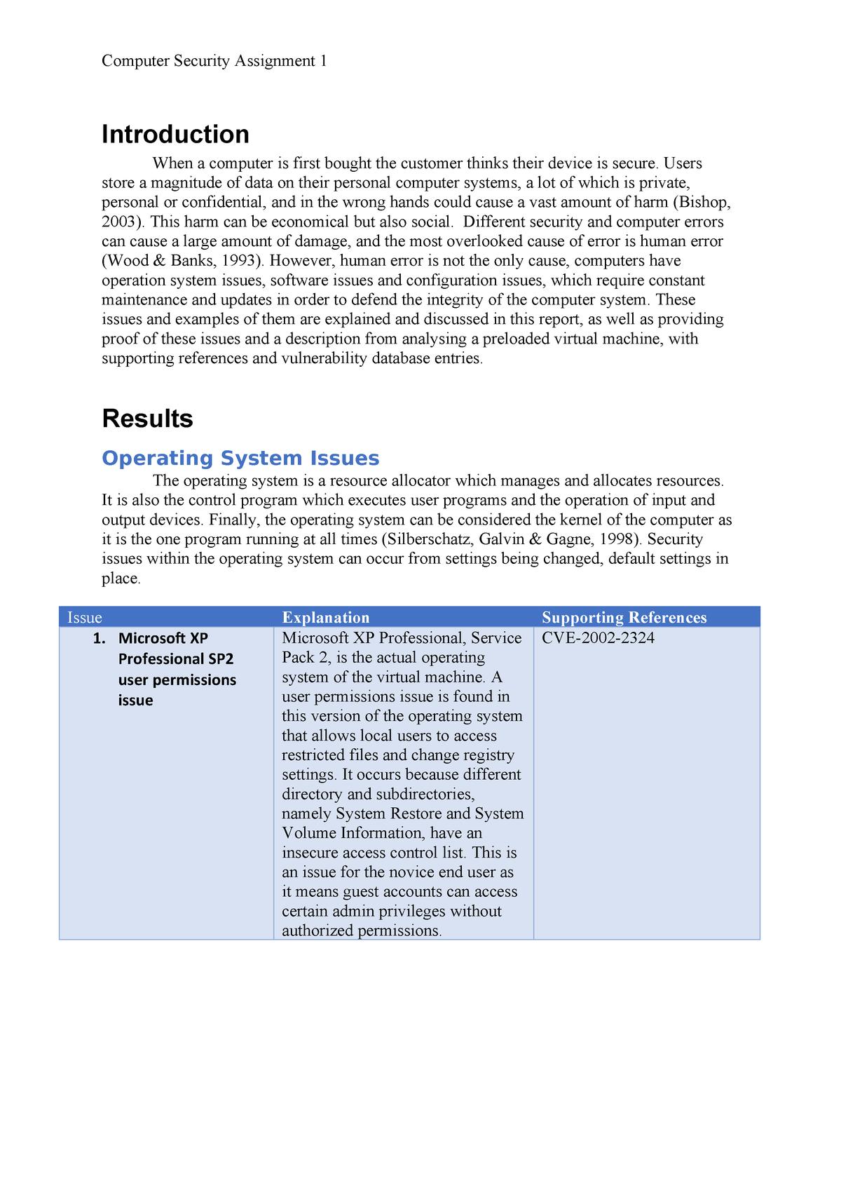 CS Assignment 1 - CSI1101 Computer Security - ECU - StuDocu