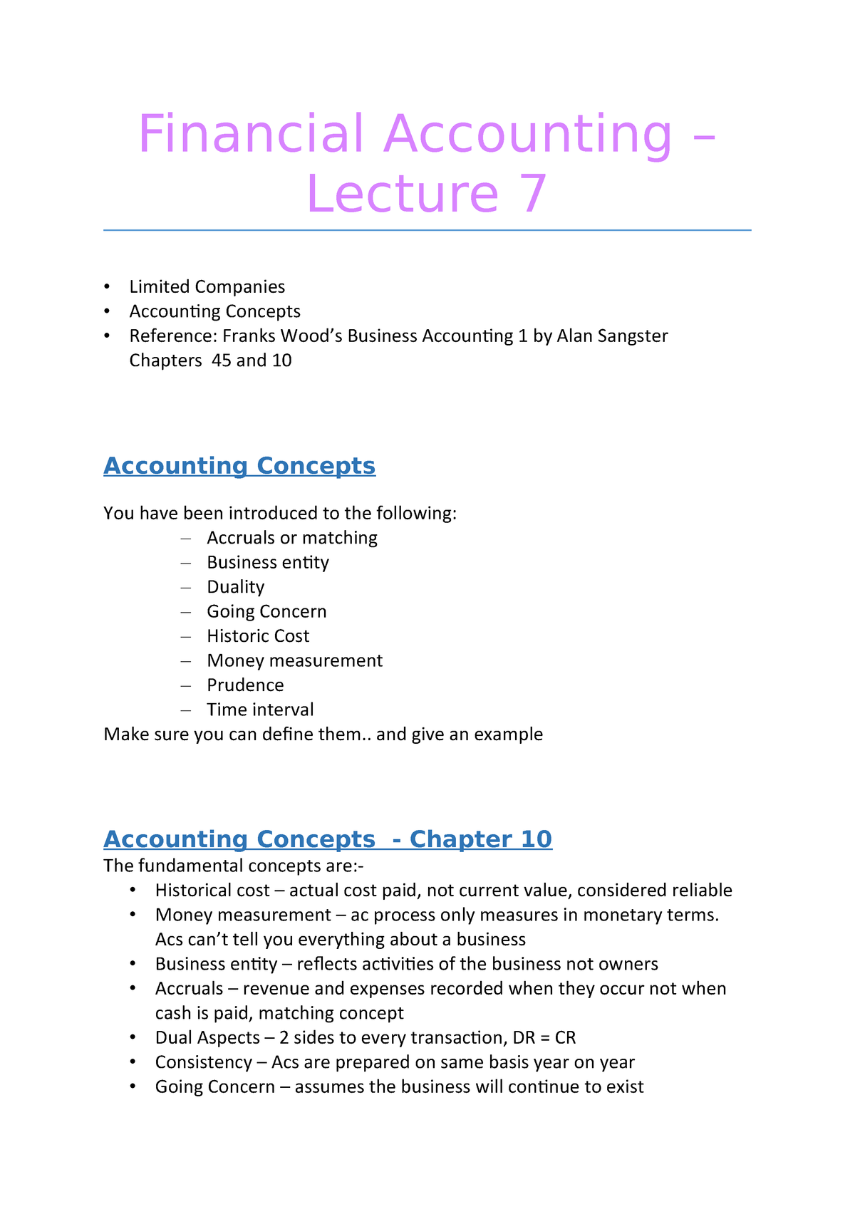 Notes, Financial Accounting – Lecture 7 - BS1111 - RGU - StuDocu