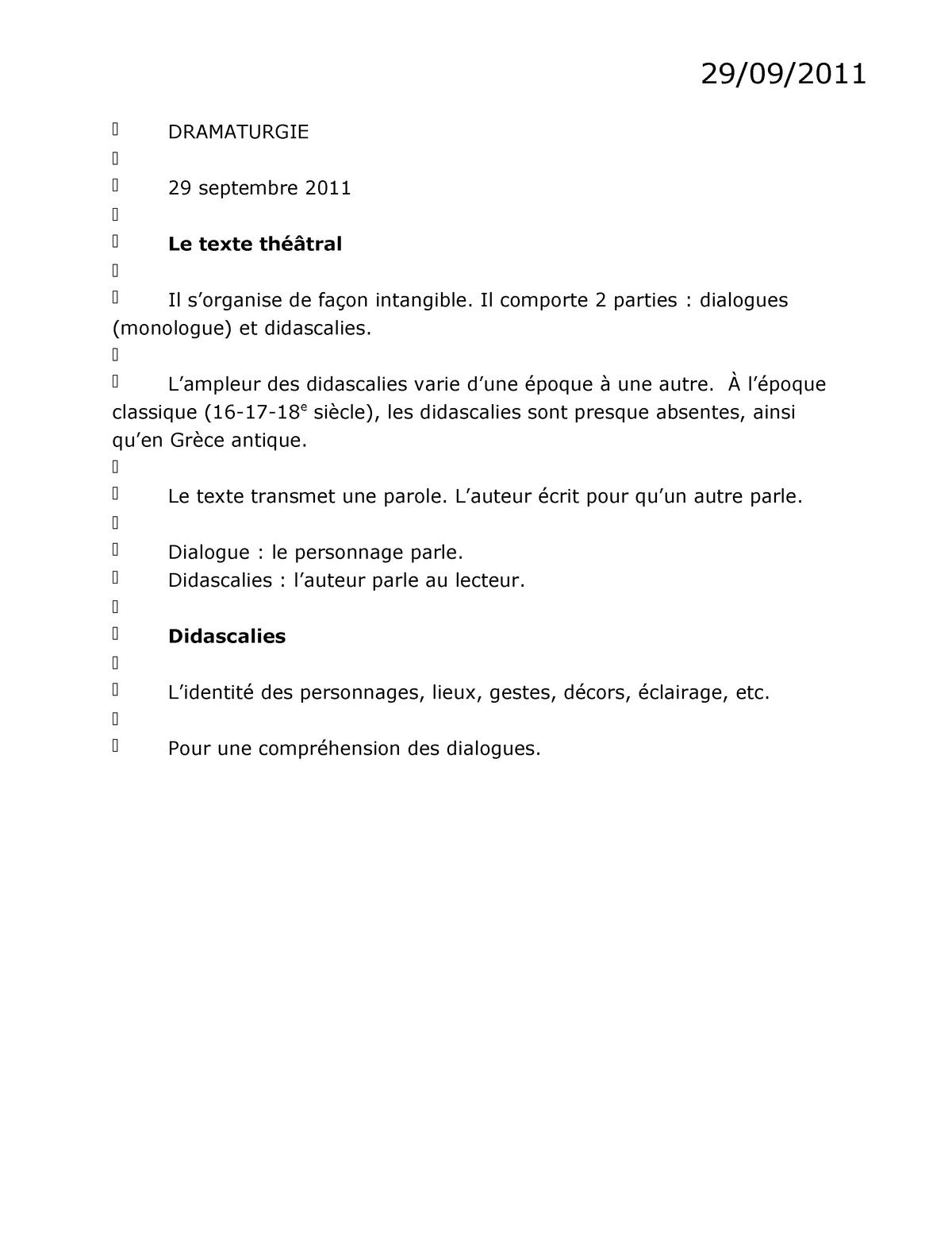 Notes De Cours Dramaturgie Est1102 Uqam Studocu