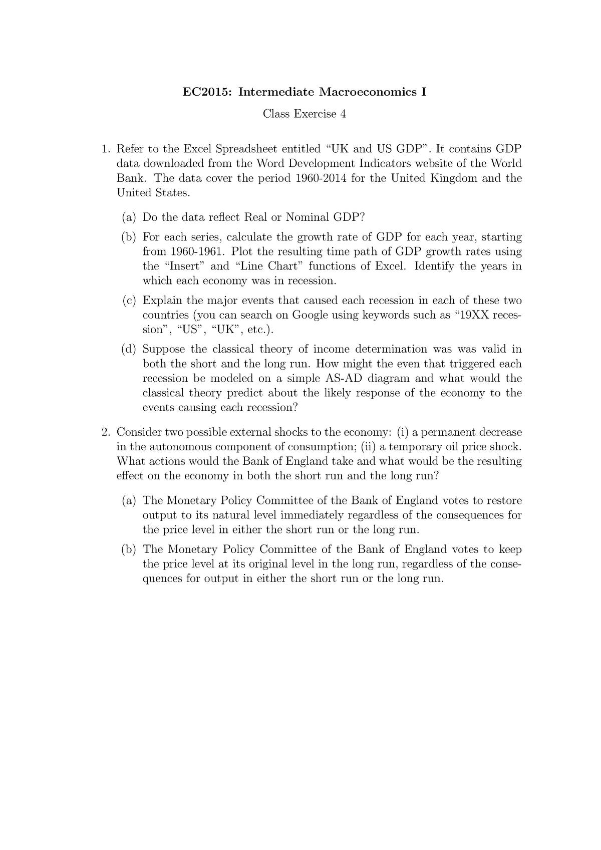 CLEX4 - Tutorial 4 questions - EC2015: Intermediate macroeconomics