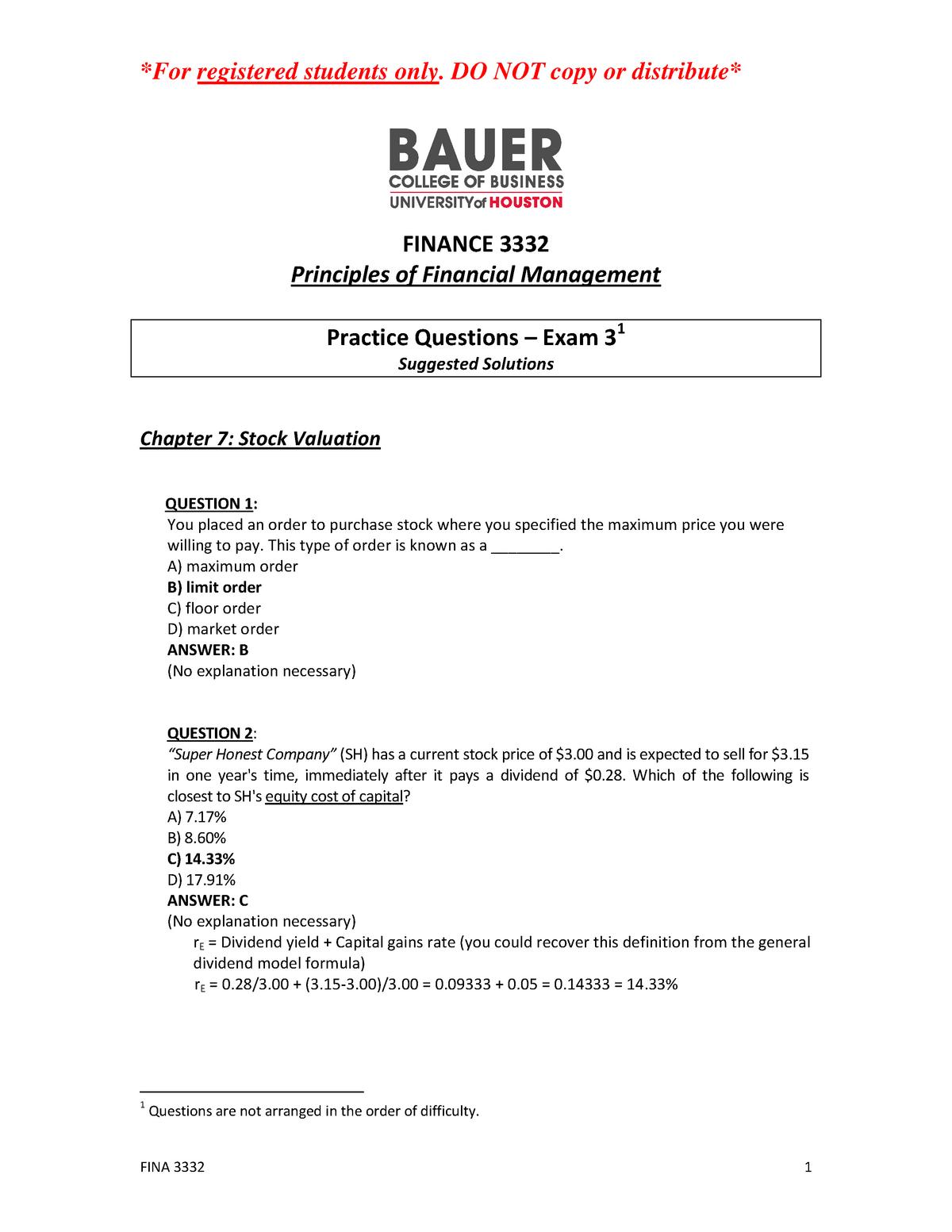 FINA 3332 Practice questions Exam 3 Solutions - FINA 3332