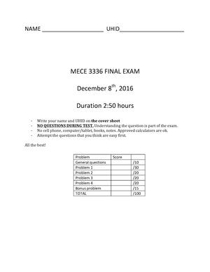 Exam 2016 - MECE 3336 : Mechanics II (Dynamics) - StuDocu