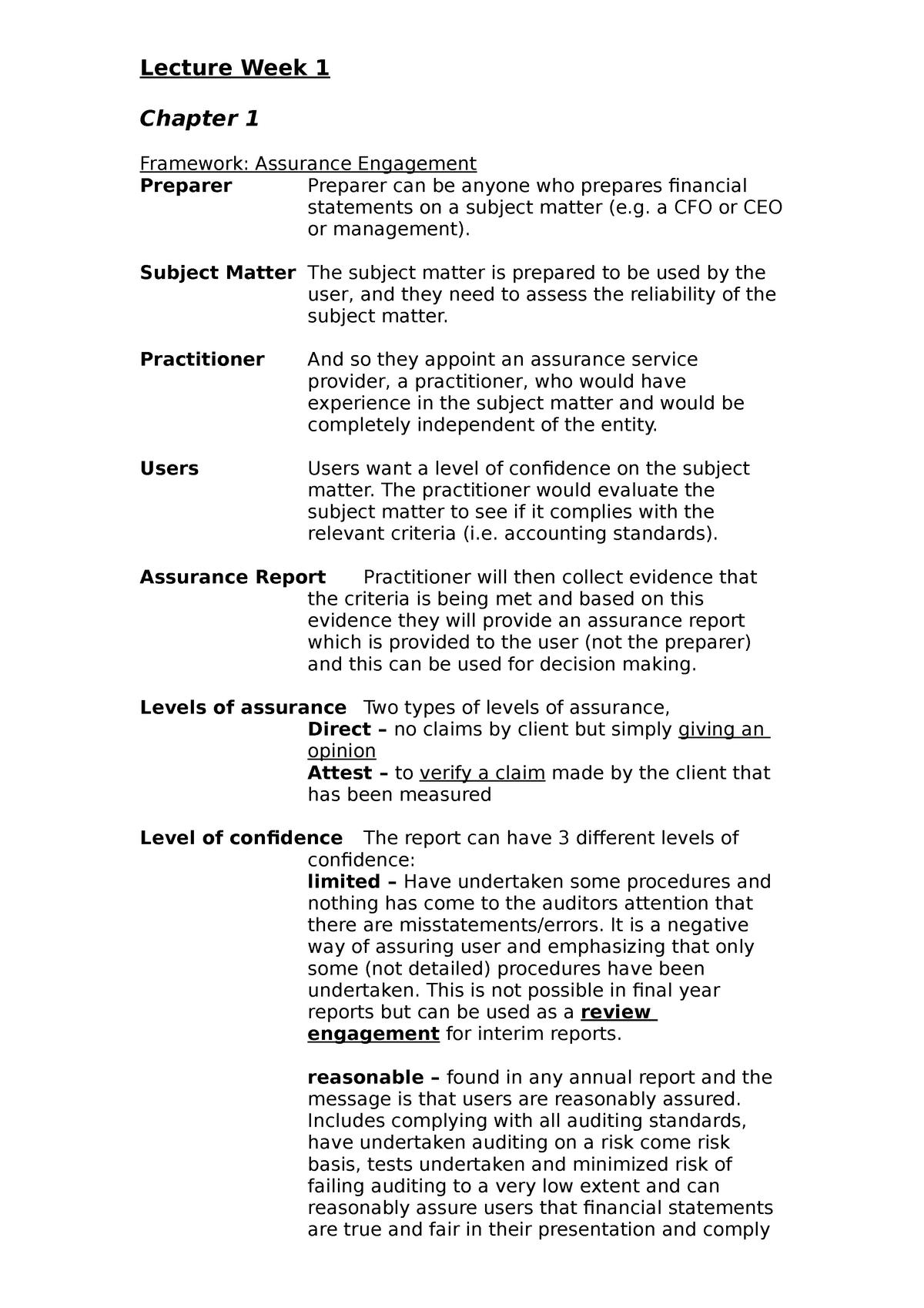 Auditing Final Exam Notes - ACCT3322 - UWA - StuDocu