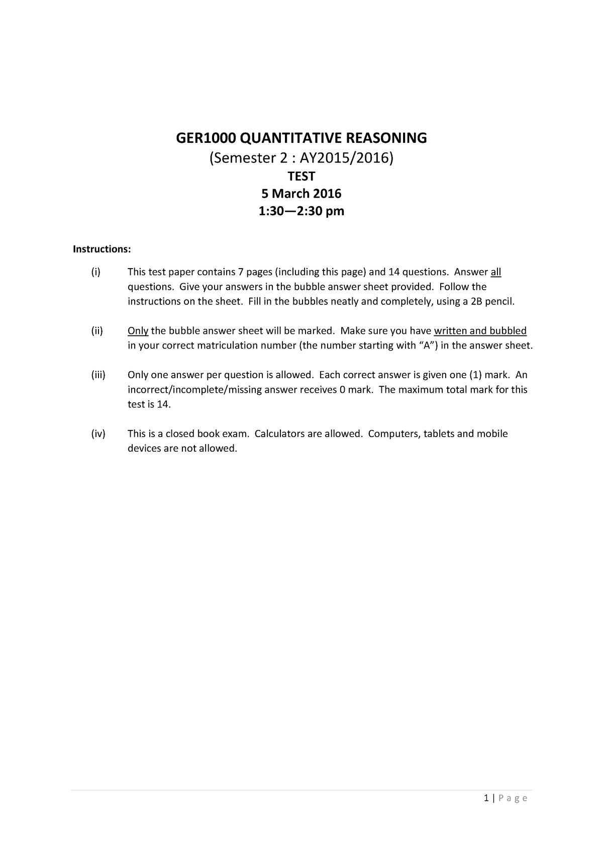 GER1000 Practice paper - Quantitative Reasoning - NUS - StuDocu