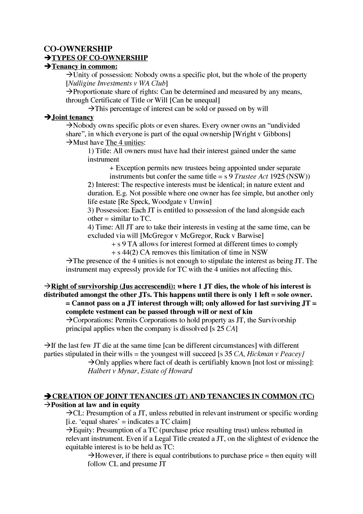 Summary of Co-Ownership - LLB 270 Property and Trusts B
