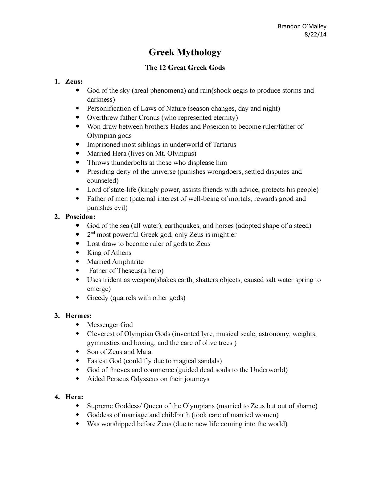 Greek Mythology - Written Communication I ENC 1101 - StuDocu