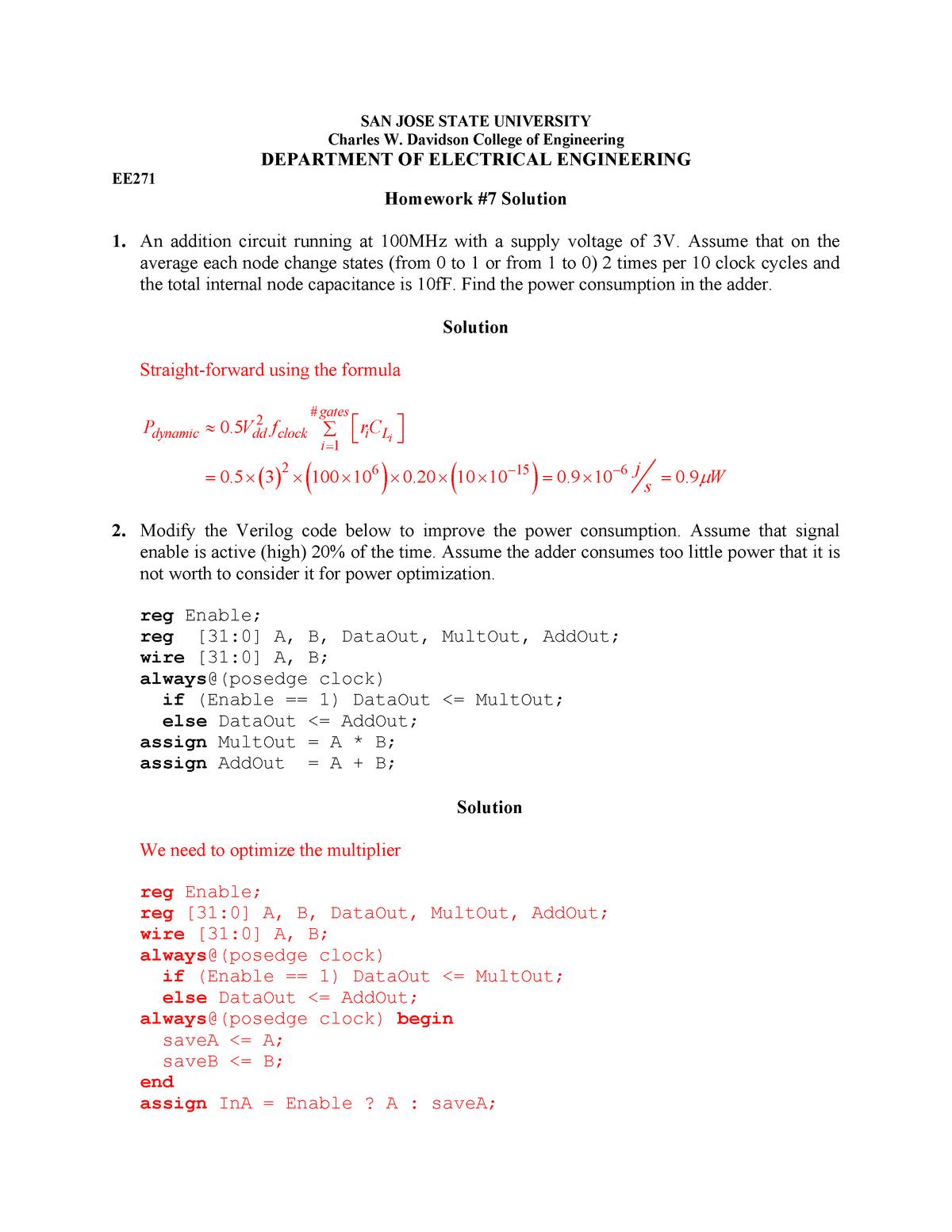 271hw7 sol - Mandatory assignment solution - EE 271: Digital