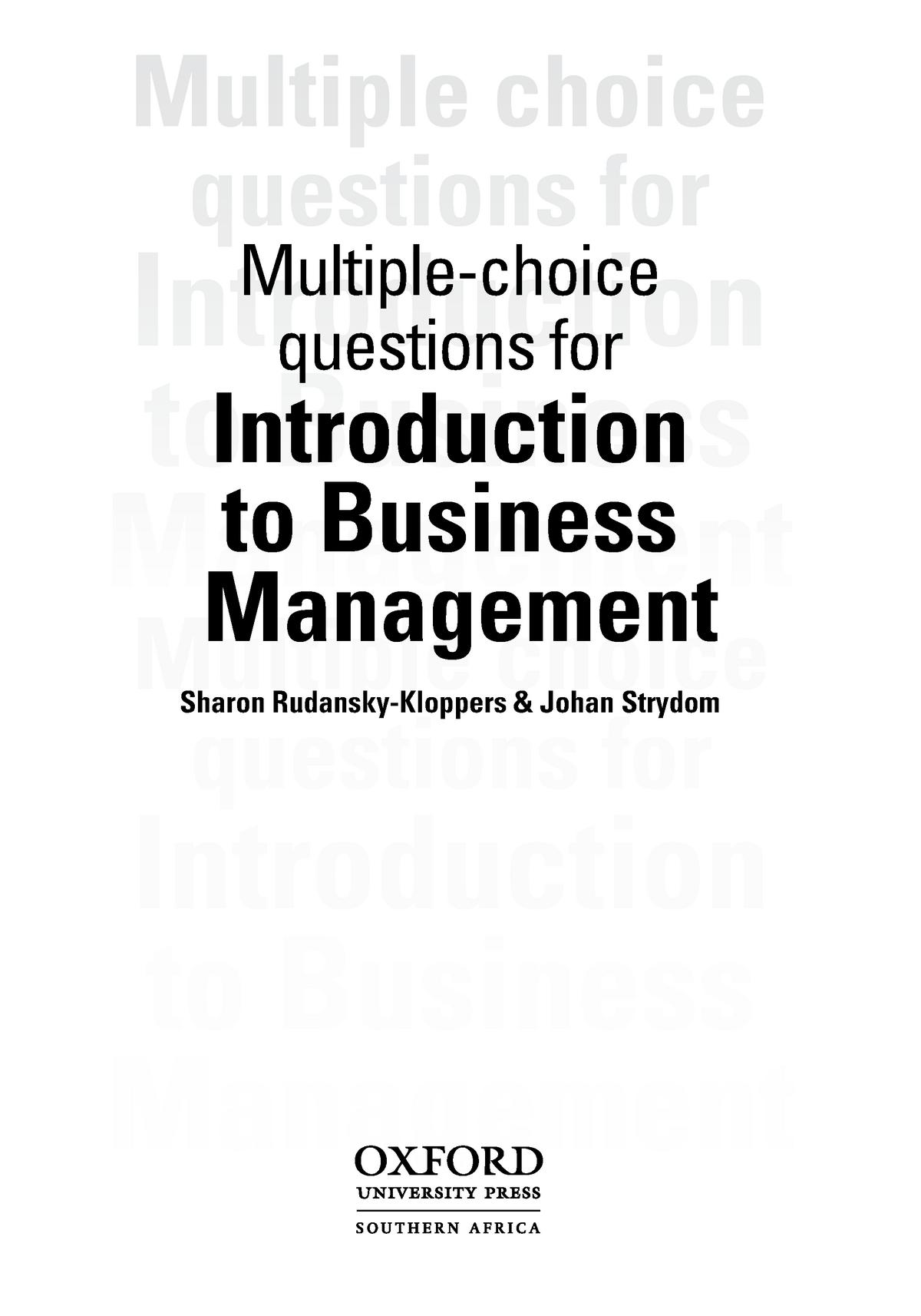 MNB1501-mcq book answers - MNB1601: Business Management IB - StuDocu