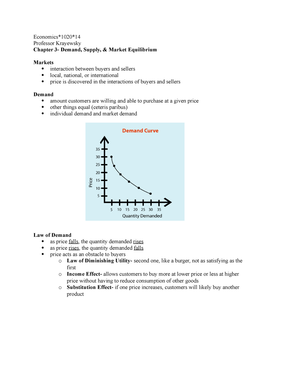 Chapter 3 Notes- Demand Supply and Market Equilibrium - StuDocu